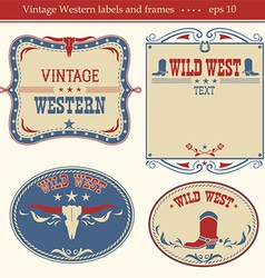 Western labels symbols and boards for text vector image vector image