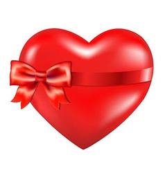 Red Heart With Red Bow vector image