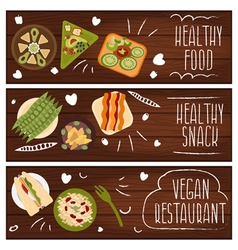 Set of banners for theme healthy foodvegetarians vector