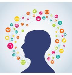 Social media concept man vector image