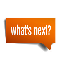 whats next orange speech bubble isolated on white vector image