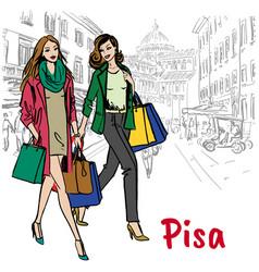 women in pisa vector image vector image