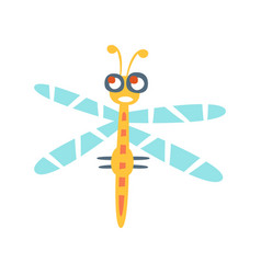 cartoon funny dragonfly colorful character vector image vector image