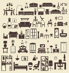 creative design furniture icons set interior- illu vector image