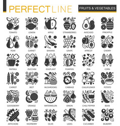 fruits vegetables black mini concept icons vector image vector image