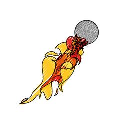 Golf ball in flammes vector