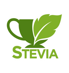 Green symbol of stevia or sweet grass on white vector