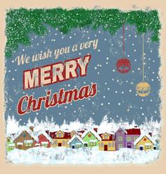 merry christmas retro poster vector image