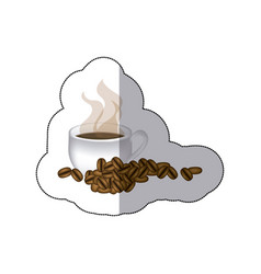 sticker coffee cup with grains of coffee vector image vector image
