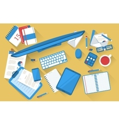 Students work table flat with shadow vector image vector image