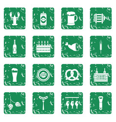Beer icons set grunge vector