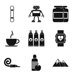 sports person icons set simple style vector image vector image