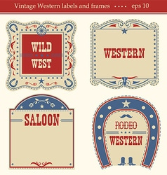 Western labels symbols and boards isolated on vector image