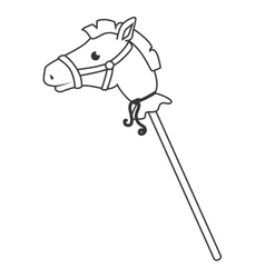 Wooden stick horse toy icon vector