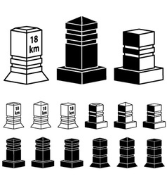 3d milestone boundary stone black symbols vector image