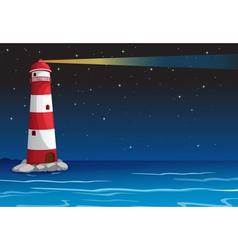 A light house in dark night vector
