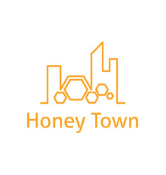 abstract logo template town with honeycombs vector image