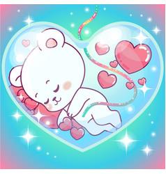 adorable teddy bear boy inside mommys belly vector image