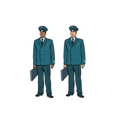 african and caucasian the pilots of civil aviation vector image