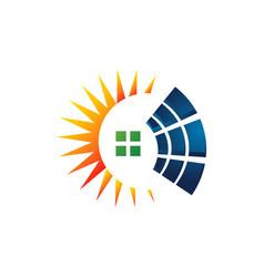 alternative renewable energy solar panel logo icon vector image