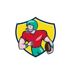 American football receiver running shield cartoon vector