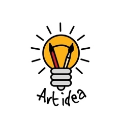 Art idea creative bulb object line logo symbol and vector image