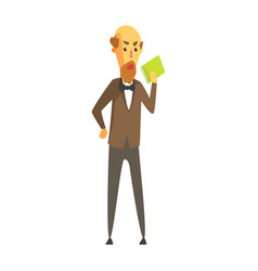 bald bearded man in a jacket and bow tie standing vector image