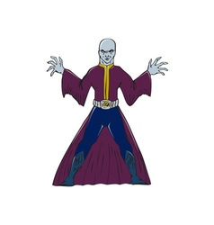 Bald sorcerer casting spell isolated cartoon vector