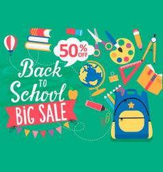Banner back to school big sale 50 percent off vector