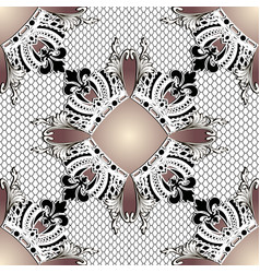 baroque ornate 3d seamless pattern lace vector image