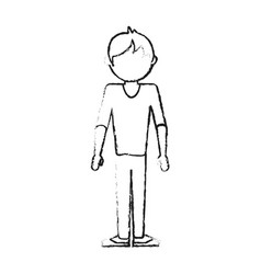 Blurred silhouette caricature faceless man casual vector