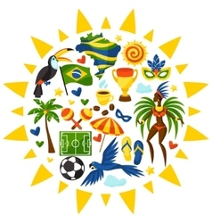 Brazil background with stylized objects vector