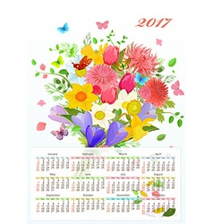 Calendar for 2017 with colorful lovely flowers and vector