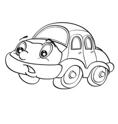car character with big eyes sketch coloring vector image