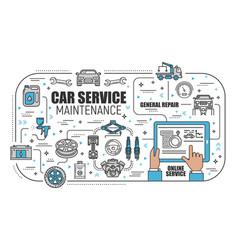 Car service center online mechanic maintenance vector