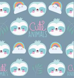 cartoon cute animals characters raccoon rainbows vector image