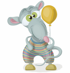 cartoon green eyed funny rat in a striped suit vector image