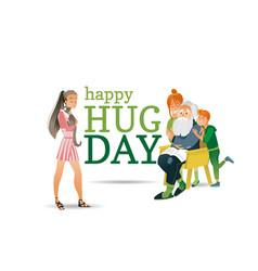 cartoon happy hug day family characters vector image