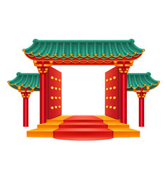 chinese gate entrance with rostairs isolated vector image