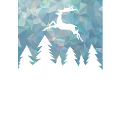 christmas card with geometric forest and deer vector image