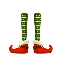 Christmas elf feet flat vector