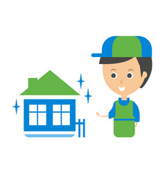 Cleanup service worker and clean home cleaning vector