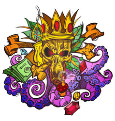 Color with a skull in the crown money and leaves vector