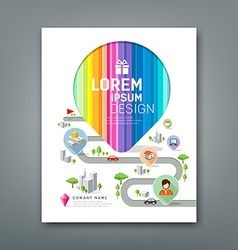 Cover annual report colorful map pointer create vector