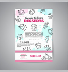 cupcake newsletter with handdrawn cupcakes and vector image