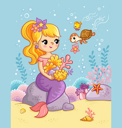 cute beautiful mermaid sits on a stone under water vector image
