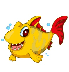 cute yellow fish cartoon vector image