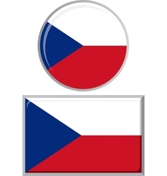 Czech round and square icon flag vector image