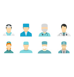 doctor avatar icon set flat style vector image vector image