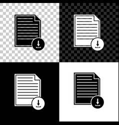 document with download sign icon isolated on black vector image